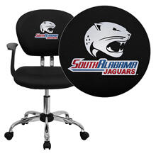 South Alabama Jaguars Embroidered Black Mesh Task Chair with Arms and Chrome Base