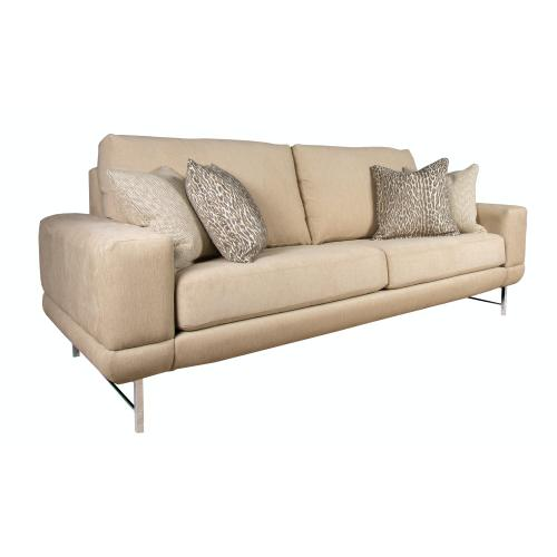 "Contemparary style wide track arm sofa. Shown with 8"" Plinth base. Also available with 8"" Tapered round, 8"" Pyramid, or 8"" Square tube legs."