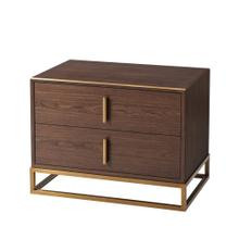 Blain Nightstand - Walnut Veneer & Brass