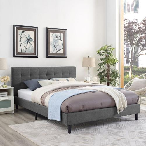 Linnea Queen Fabric Bed in Gray