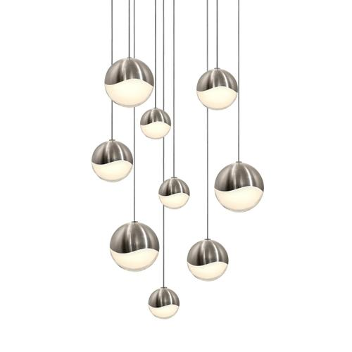 Sonneman - A Way of Light - Grapes® LED Pendant [Size=9-Light Assorted, Color/Finish=Satin Nickel, Shape=Round Canopy]