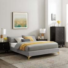 Sutton Twin Performance Velvet Bed Frame in Light Gray