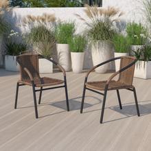 2 Pack Medium Brown Rattan Indoor-Outdoor Restaurant Stack Chair