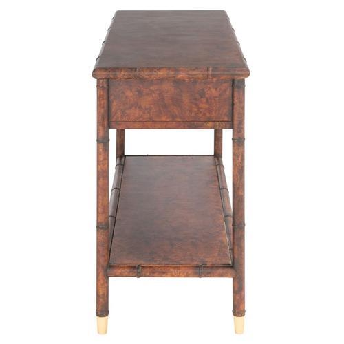 Safavieh - Tudor 2 Drawer 1 Shelf Console Table - Dark Brown / Gold