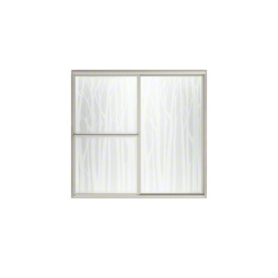 "Deluxe Sliding Bath Door - Height 56-1/4"", Max. Opening 59-3/8"" - Nickel with Birchwood Glass Pattern"