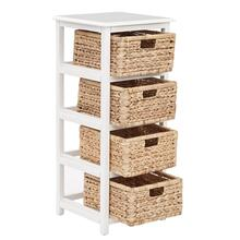 Seabrook Four-tier Storage Unit With White Finish and Natural Baskets