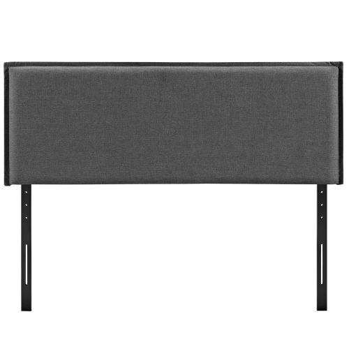 Camille King Upholstered Fabric Headboard in Gray