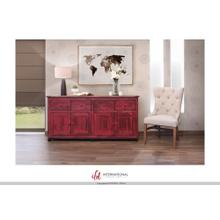 See Details - 4 Drawer, 4 doors console - Red finish