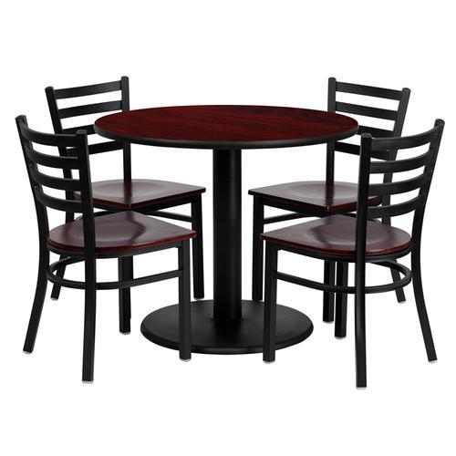 Flash Furniture - 36'' Round Mahogany Laminate Table Set with 4 Ladder Back Metal Chairs - Mahogany Wood Seat