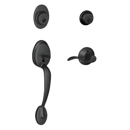 Schlage - Plymouth Double Cylinder Handleset and Accent Lever - Matte Black