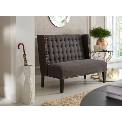 Tufted Nailhead Trim Entryway Bench in Anthracite Grey