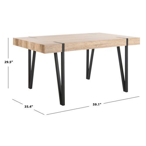 Alyssa Rustic Midcentury Wood Top Dining Table - Multi / Brown / Black Metal Legs