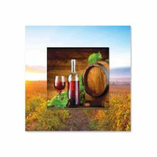 See Details - One Glass Wine and Keg With Background Miniature Fine Wall Art