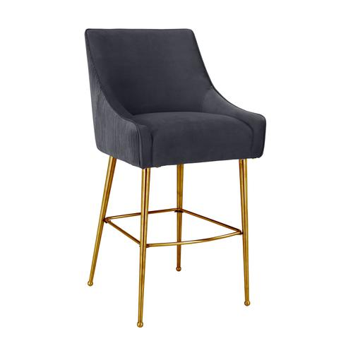 Product Image - Beatrix Pleated Grey Velvet Counter Stool