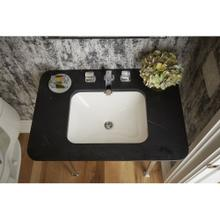 See Details - Under-mount Sink, Soft Rectangle with Overflow, Glazed - Stucco White
