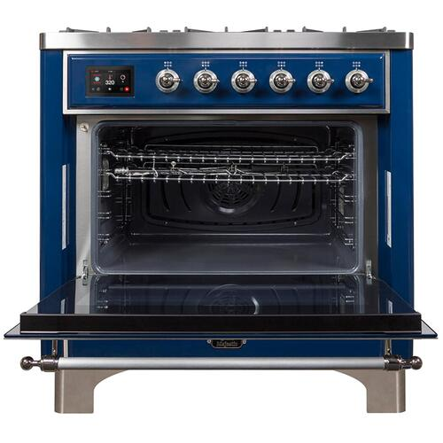 Gallery - Majestic II 36 Inch Dual Fuel Natural Gas Freestanding Range in Blue with Chrome Trim