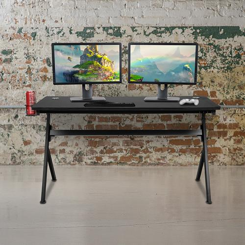 """Flash Furniture - 55"""" x 24"""" Extra Large Gaming Desk with Headphone Hook and Cup Holder - Free Mouse Pad"""