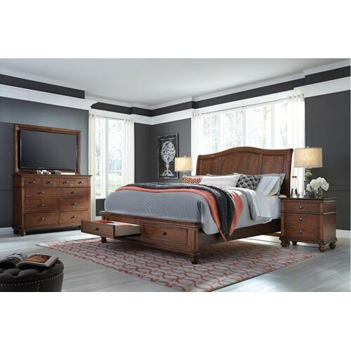 Queen Whiskey Brown Sleigh HDBD w/ Storage and USB ports; complete bed