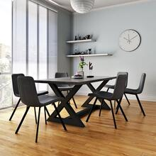 Zax/Buren 7pc Dining Set, Black/Vintage Grey