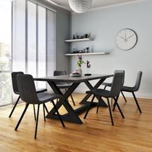 Zax/Buren 7pc Dining Set, Black/Vintage Grey