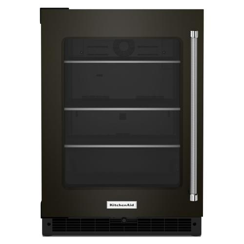 "24"" Undercounter Refrigerator with Glass Door and Shelves with Metallic Accents - Black Stainless Steel with PrintShield™ Finish"