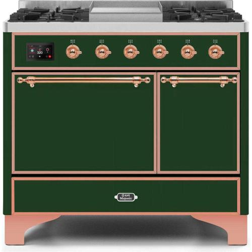 Ilve - Majestic II 40 Inch Dual Fuel Natural Gas Freestanding Range in Emerald Green with Copper Trim