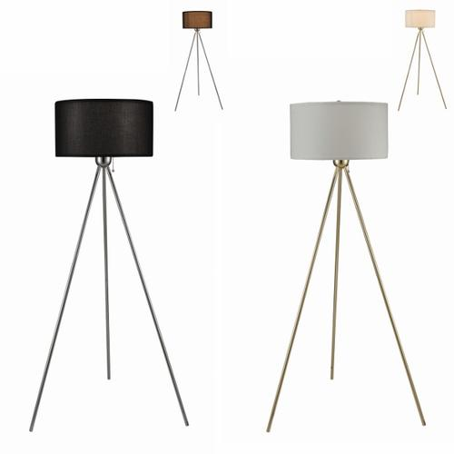 Chrome Floor Lamp With Black Shade