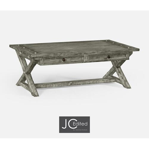 Antique Dark Grey Coffee Table with Drawers