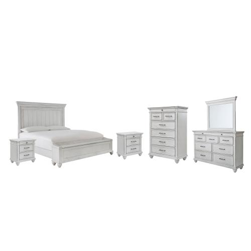 Ashley - Queen Panel Bed With Storage With Mirrored Dresser, Chest and 2 Nightstands