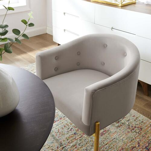 Savour Tufted Performance Velvet Accent Chairs - Set of 2 in Light Gray