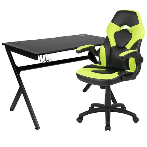 Gallery - Black Gaming Desk and Green\/Black Racing Chair Set with Cup Holder, Headphone Hook & 2 Wire Management Holes