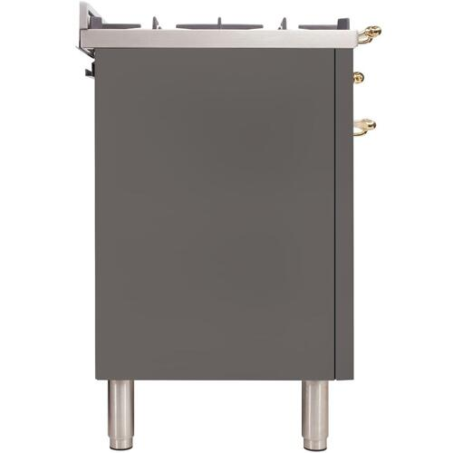 Ilve - Nostalgie 36 Inch Gas Liquid Propane Freestanding Range in Stainless Steel with Brass Trim