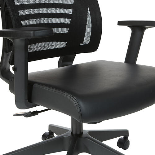 Black Breathable Mesh Back Chair In Black Frame With Pu Padded Arms
