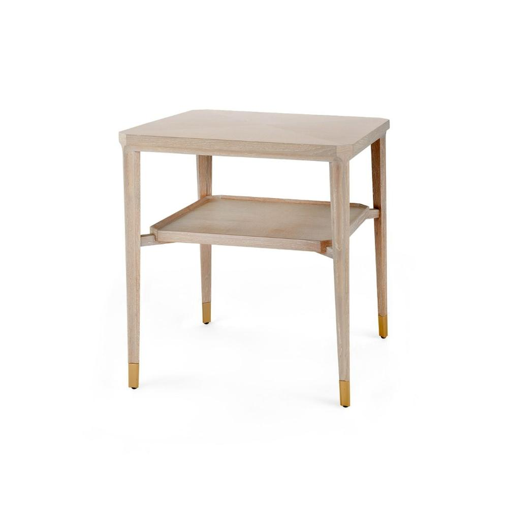 See Details - Bertram Side Table, Bleached Cerused Oak