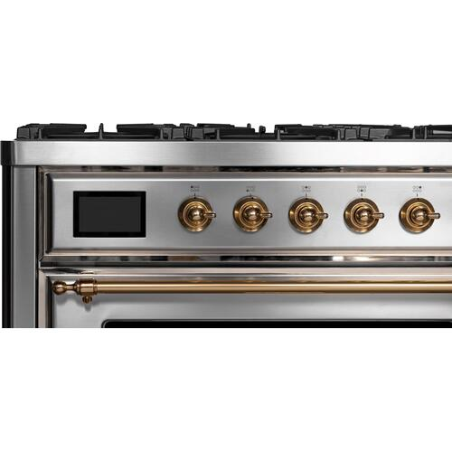 Majestic II 36 Inch Dual Fuel Liquid Propane Freestanding Range in Stainless Steel with Brass Trim