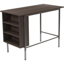 Hillside Light Applewood Finish Computer Desk with Side Storage Shelves
