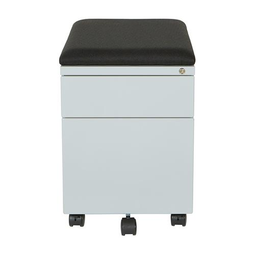 "Mobile Box/file Pedestal With Cushion, 22""d, Grey Finish / Black Fabric"