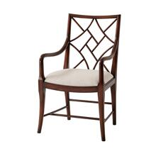 A Delicate Trellis Armchair, #plain# - Mahogany Finish