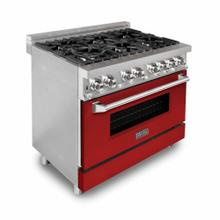ZLINE 36 in. Professional Dual Fuel Range with Red Matte Door (RA-RM-36)