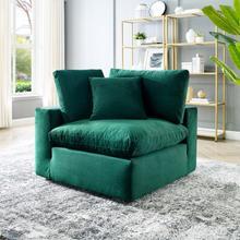Commix Down Filled Overstuffed Performance Velvet Corner Chair in Green