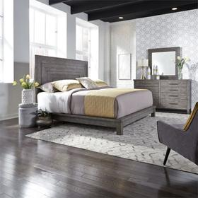 Queen Platform Bed, Dresser & Mirror
