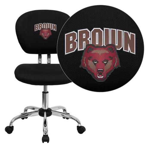 Brown University Bears Embroidered Black Mesh Task Chair with Chrome Base