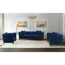 Product Image - Melange 3 Piece Blue Velvet Living Room Seating Set