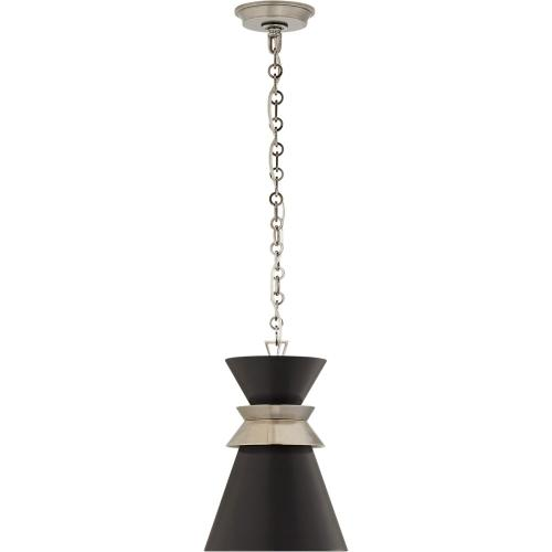 Visual Comfort CHC5240AN-BLK E. F. Chapman Alborg 1 Light 10 inch Antique Nickel Pendant Ceiling Light in Matte Black, Small Stacked