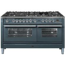 Professional Plus 60 Inch Dual Fuel Natural Gas Freestanding Range in Blue Grey with Chrome Trim