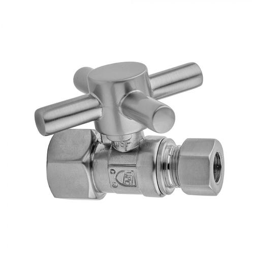 """Satin Chrome - Quarter Turn Straight Pattern 1/2"""" IPS x 3/8"""" O.D. Supply Valve with Contempo Cross Handle"""