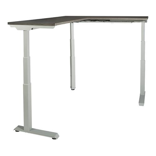 """60""""w X 72""""d L-shape Sit/stand Electric Height-adjustable Workstation, Slate Grey Top / Silver Base"""