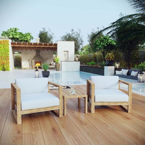 Upland 3 Piece Outdoor Patio Teak Set in Natural White