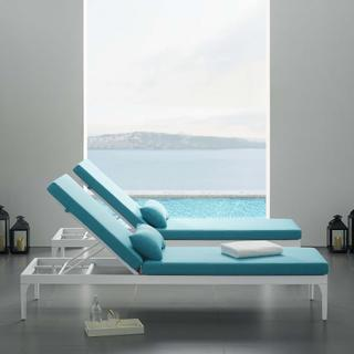 Perspective Cushion Outdoor Patio Chaise Lounge Chair in White Turquoise
