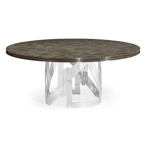 """72"""" Gatsby Contemporary Round Grey Natural Eucalyptus & Stainless Steel Dining Table with Random Cut Top"""